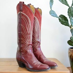 70s Tony Lama 6 1/2 Tall Burgundy Leather Cowgirls
